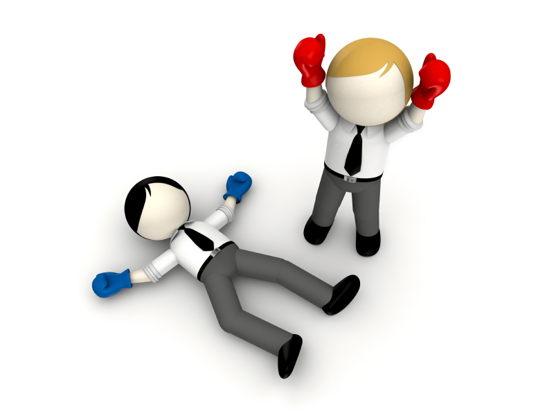 businessman boxing concept for business rivalry