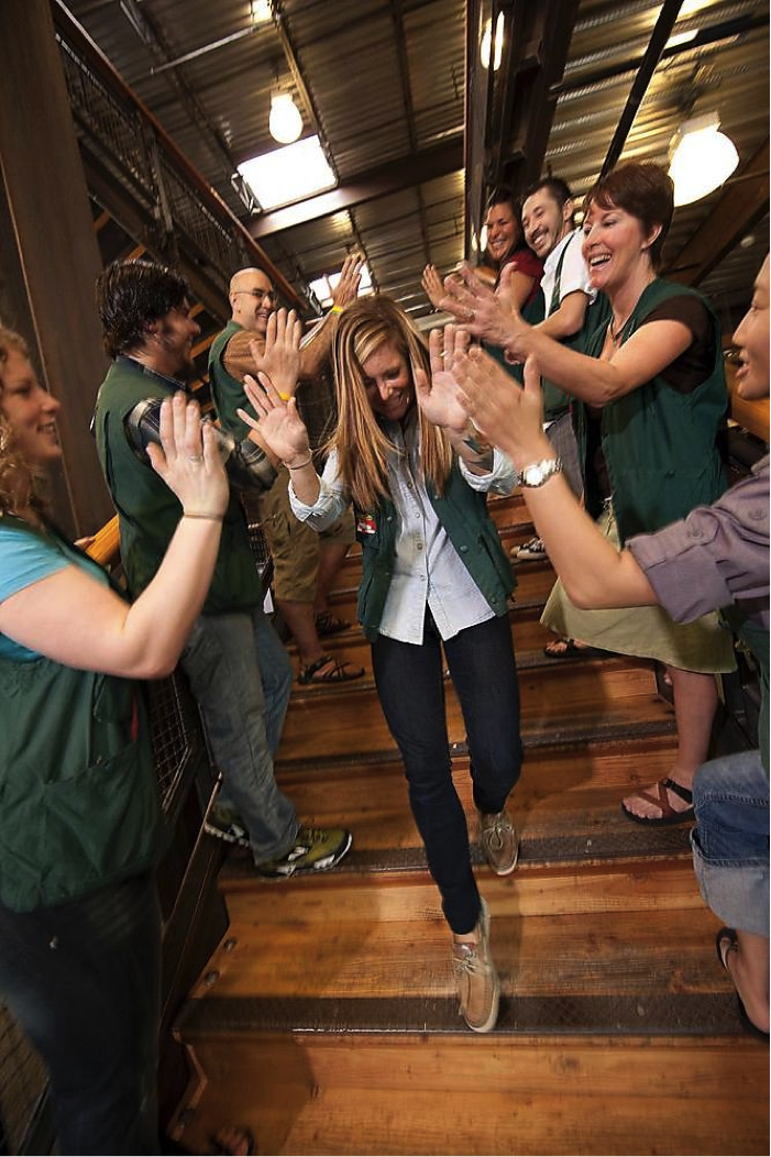 REI employees giving high fives