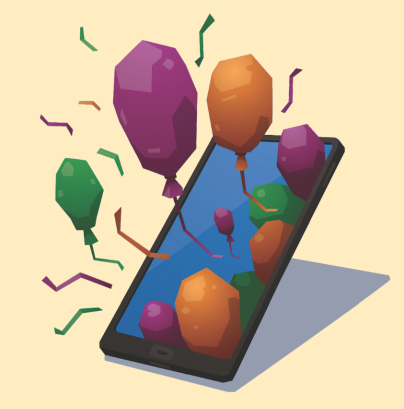 balloons coming out of tablet