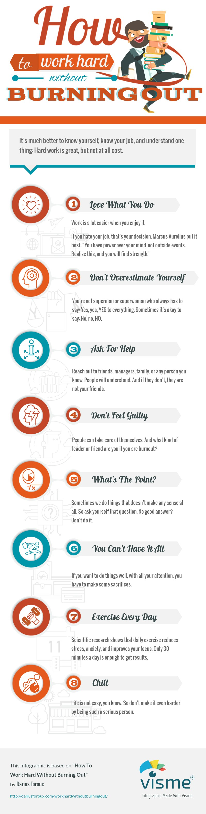 How to work hard without burning out infographic